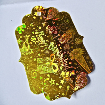 Extra large 'Happy Birthday' Gift Tag Gold Holographic